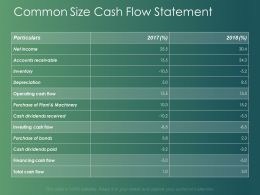 Common Size Cash Flow Statement Financing Cash Ppt Powerpoint Slides