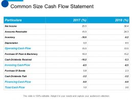 Common Size Cash Flow Statement Ppt Summary Designs Download