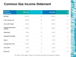 Common Size Income Statement Ppt Icon Show