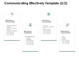 Communicating Effectively Template Organization Ppt Presentation Infographics Outfit