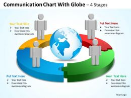 communication chart with globe 4 stages powerpoint diagrams presentation slides graphics 0912