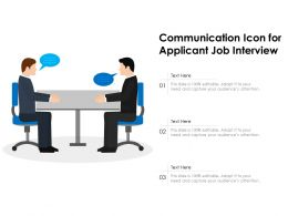 Communication Icon For Applicant Job Interview
