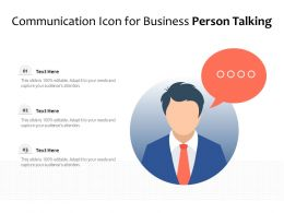 Communication Icon For Business Person Talking