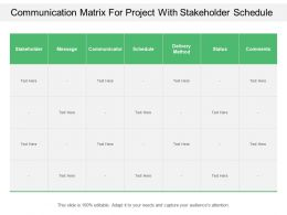 Communication Matrix For Project With Stakeholder Schedule
