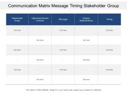 Communication Matrix Message Timing Stakeholder Group