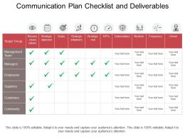Communication Plan Checklist And Deliverables Powerpoint Slide