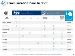 Communication Plan Checklist Target Audience Ppt Powerpoint Presentation Ideas Slides