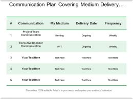 Communication Plan Covering Medium Delivery Date And Frequency Table