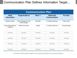 Communication Plan Defines Information Target Audience Method And Provider