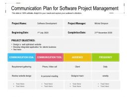 Communication Plan For Software Project Management