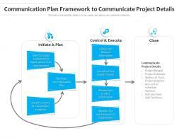 Communication Plan Framework To Communicate Project Details