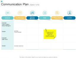 Communication Plan Option 1 Of 2 Audience Organizational Change Strategic Plan Ppt Diagrams