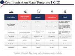 Communication Plan Ppt Powerpoint Presentation File Infographic Template