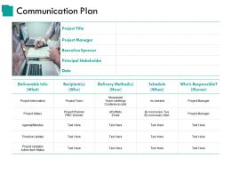 Communication Plan Ppt Slide Templates