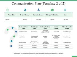Communication Plan Principle Stakeholder