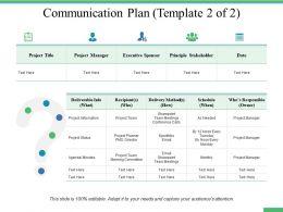 Communication Plan Principle Stakeholder