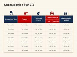 Communication Plan Stakeholders Team Ppt Powerpoint Presentation Information