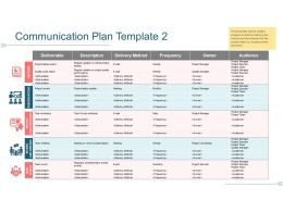 Communication Plan Template 2 Ppt Background