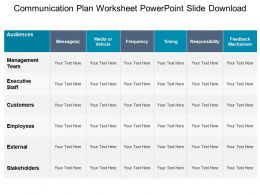 Communication Plan Worksheet Powerpoint Slide Download