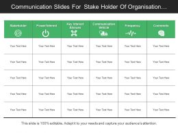 Communication Slides For Stake Holder Of Organisation With Key Interest And Frequency