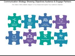 Communication Strategy Showing Objectives Audience And Engage Partners