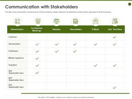 Communication With Stakeholders Conference Ppt Powerpoint Presentation Visual Aids Slides