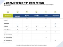 Communication With Stakeholders Regulators Ppt Powerpoint Presentation Examples