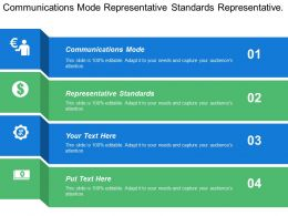 Communications Mode Representative Standards Representative Application Data Collection