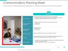 Communications Planning Sheet Project Engagement Management Process Ppt Ideas