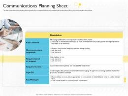 Communications Planning Sheet Stakeholder Engagement Process Methods Strategy Ppt Grid