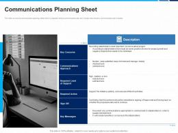 Communications Planning Sheet Stakeholders Project Engagement And Involvement Process Ppt Model