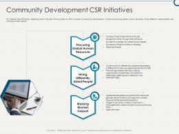 Community Development CSR Initiatives Building Sustainable Working Environment Ppt Topics