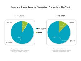 Company 2 Year Revenue Generation Comparison Pie Chart