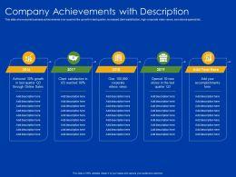 Company Achievements With Description 2016 To 2019 Ppt Powerpoint Presentation File