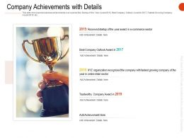 Company Achievements With Details Ppt Powerpoint Infographics