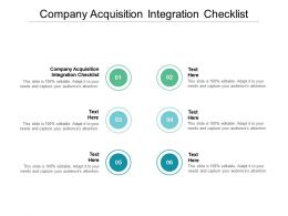 Company Acquisition Integration Checklist Ppt Powerpoint Presentation Professional Cpb