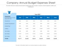 Company Annual Budget Expenses Sheet