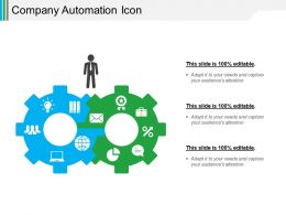 Company Automation Icon Powerpoint Slide