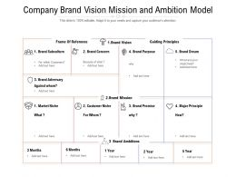 Company Brand Vision Mission And Ambition Model