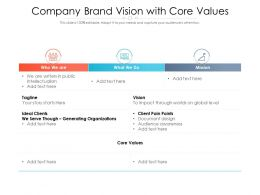 Company Brand Vision With Core Values