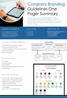 Company Branding Guidelines One Pager Summary Presentation Report Infographic PPT PDF Document