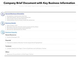 Company Brief Document With Key Business Information