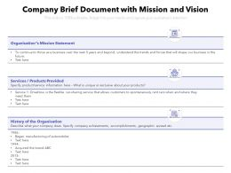 Company Brief Document With Mission And Vision