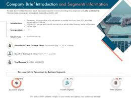 Company Brief Introduction And Segments Information Ppt Powerpoint Presentation Portfolio Examples