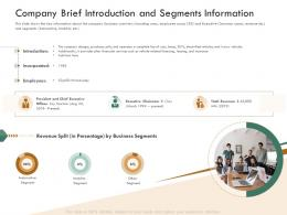 Company Brief Introduction And Segments Information Raise Funding Bridge Funding Ppt Topic