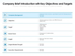 Company Brief Introduction With Key Objectives And Targets