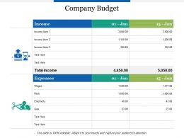 Company Budget Expenses Income Ppt Powerpoint Presentation Outline Graphics Download