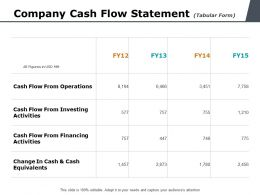 Company Cash Flow Statement Tabular Form Ppt Powerpoint Presentation Styles