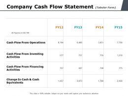 Company Cash Flow Statement Tabular Form Ppt Powerpoint Presentation Styles