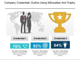 Company Credentials Outline Using Silhouettes And Trophy